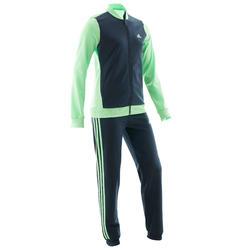 Trainingspak voor meisjes groen en blauw met logo op de borst