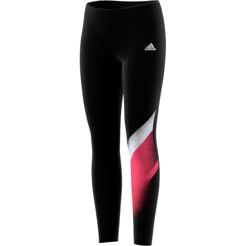 Legging fille noir avec imprimé graphique et logo adidas