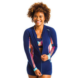 Women's Long-Sleeved Zipped Top Aqua aerobics and Aquafitness vib blue
