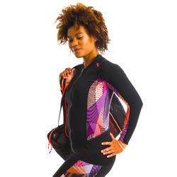 女款水中有氧健身與水中健身長袖拉鍊上衣Vib黑色