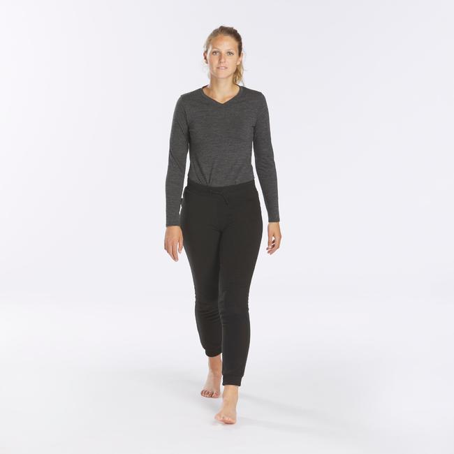 Women's Mountain Trekking Fleece Tights - TREK 100 - Black