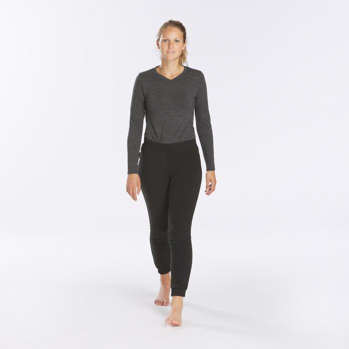 Fleece legging voor bergtrekking dames Trek 100 zwart