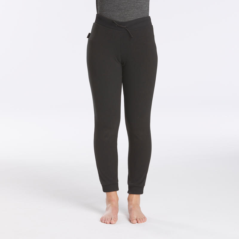 Women's Mountain Trekking Fleece Tights - TREK 100 - Black