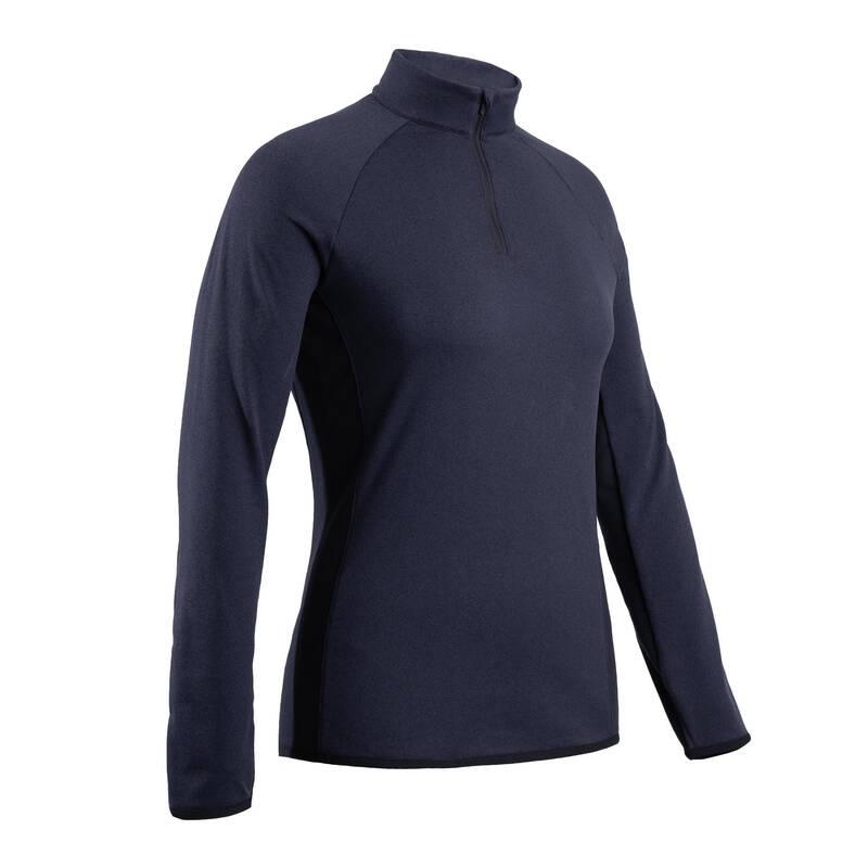 DÁMSKÉ GOLFOVÉ OBLEČENÍ DO CHLADNÉHO POČASÍ Golf - GOLFOVÝ SVETR CW500 MODRÝ  INESIS - Golfové oblečení