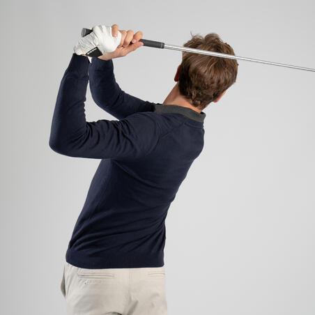 Men's golf V-neck pullover MW500 navy blue