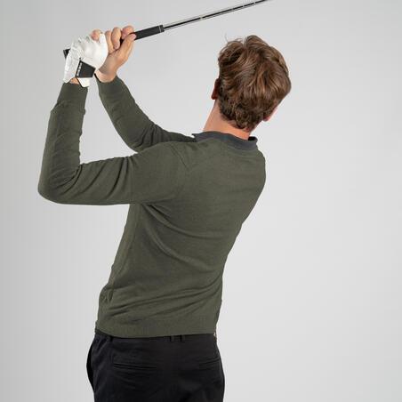 Pull de golf col V homme MW500 kaki