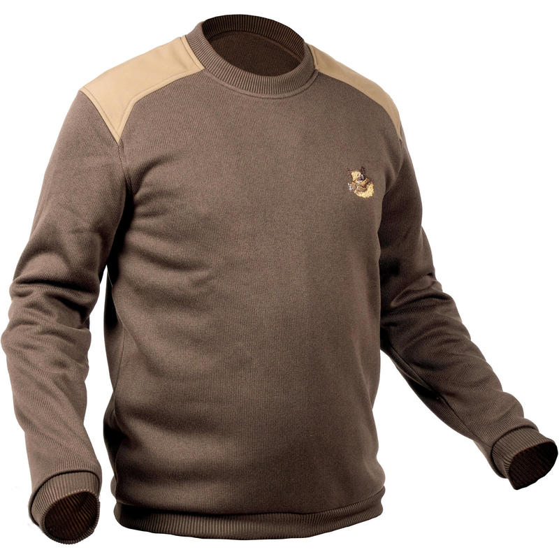 HUNTING PULLOVER 500 - BROWN / EMBROIDED BOAR