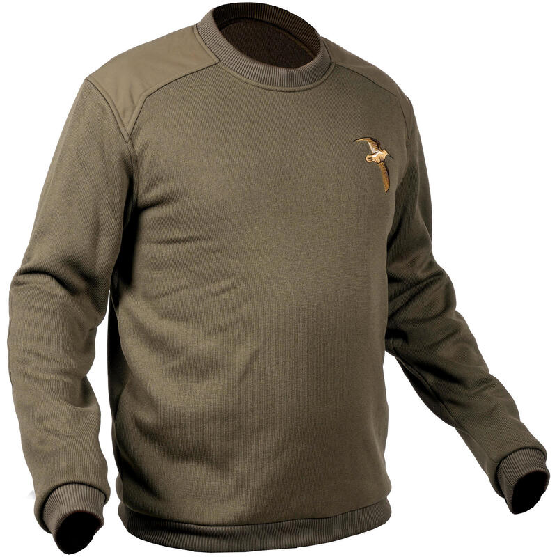 PULL CHASSE VERT BRODERIE BECASSE 500