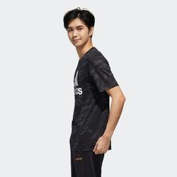 Gym T-shirt voor heren regular fit zwart met motief