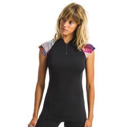 Shirt met korte mouwen voor aquagym en aquafitness Anna Vib zwart/roze