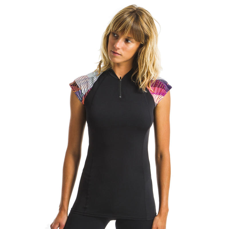 Women's Aquagym and Aquafitness short-sleeved top Zia - Vib black / pink