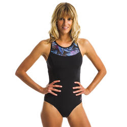 女款連身式水中健身泳裝Lena-黑色