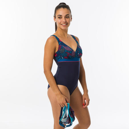 Women's Swimming Body-Sculpting One-Piece Swimsuit – Kaipearl Triki Canop Navy