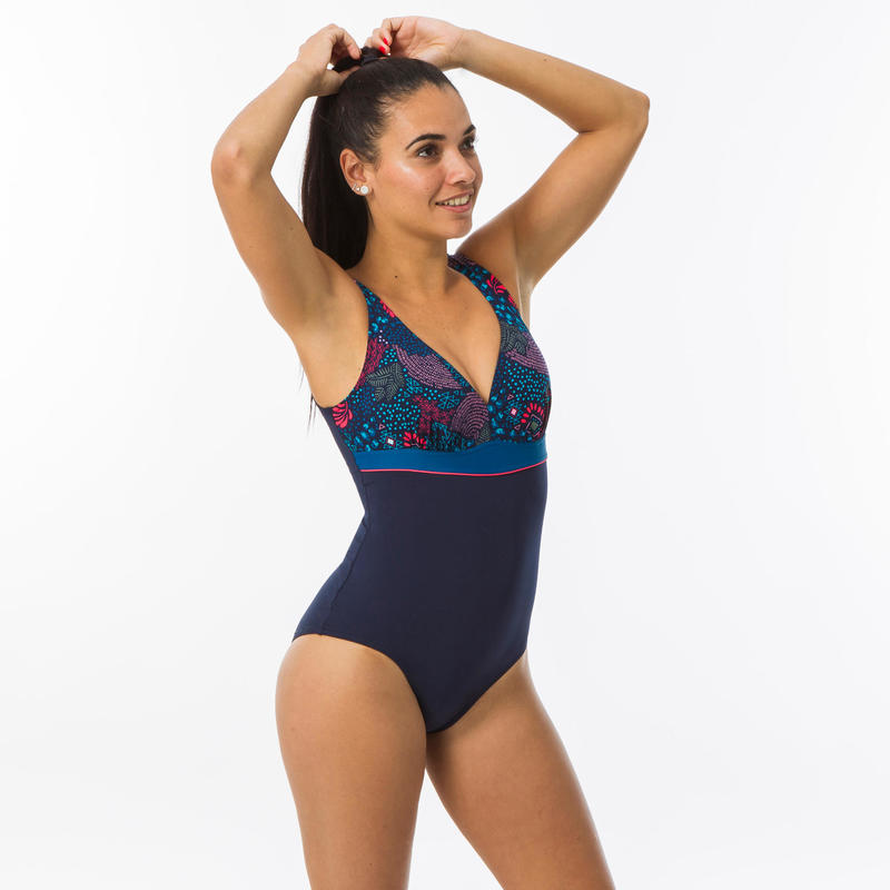 Women's Swimming Body-Sculpting 1-piece Swimsuit Kaipearl Triki Canop - Navy