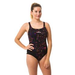 Kamiye Women's Chlorine-Resistant One-Piece Swimsuit - Imo Black