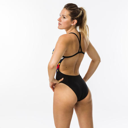 Women's Swimming One-Piece Swimsuit - Kal Red and Black