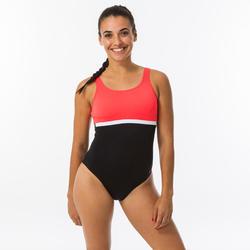 Sportbadpak voor zwemmen dames Heva li zwart/koraal