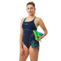 Traje de Baño Mujer Natación Nabaiji Kamiye+ Una Pieza Azul Verde Fluor
