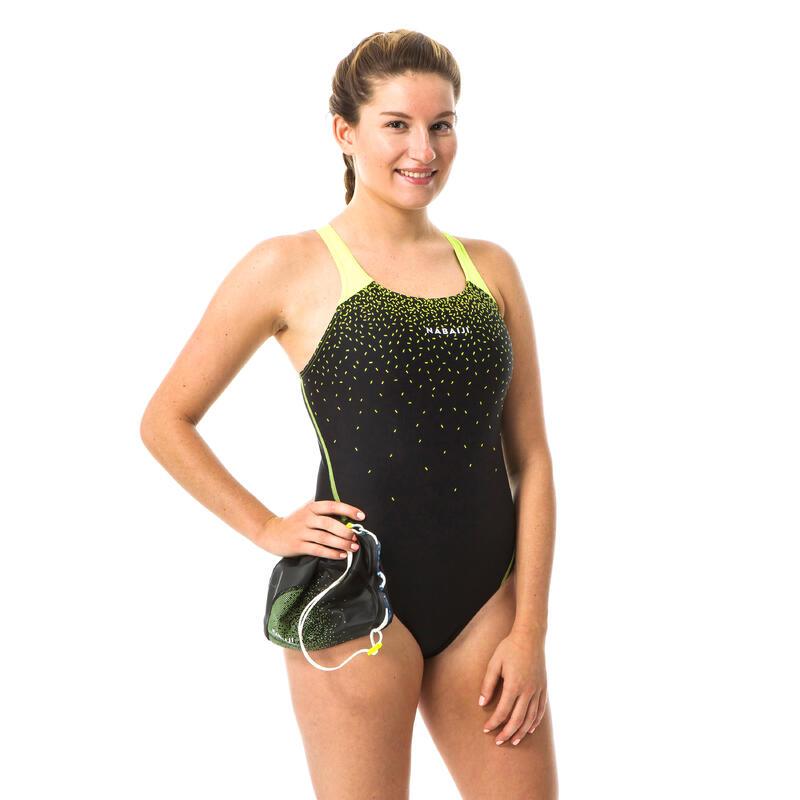 Women 1-piece swimsuit - Pearl Black yellow