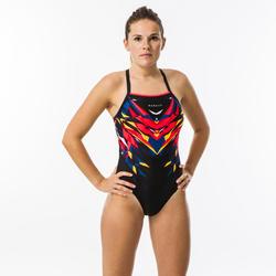 Maillot de bain de natation femme une pièce Kal rouge et noir