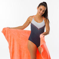 Women's Swimming One-Piece Swimsuit Riana - Gab Navy