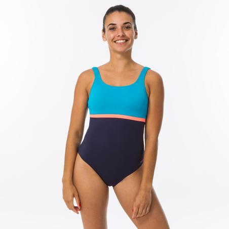 Women's Swimming One-Piece Shorty Swimsuit Heva Li - Navy Blue