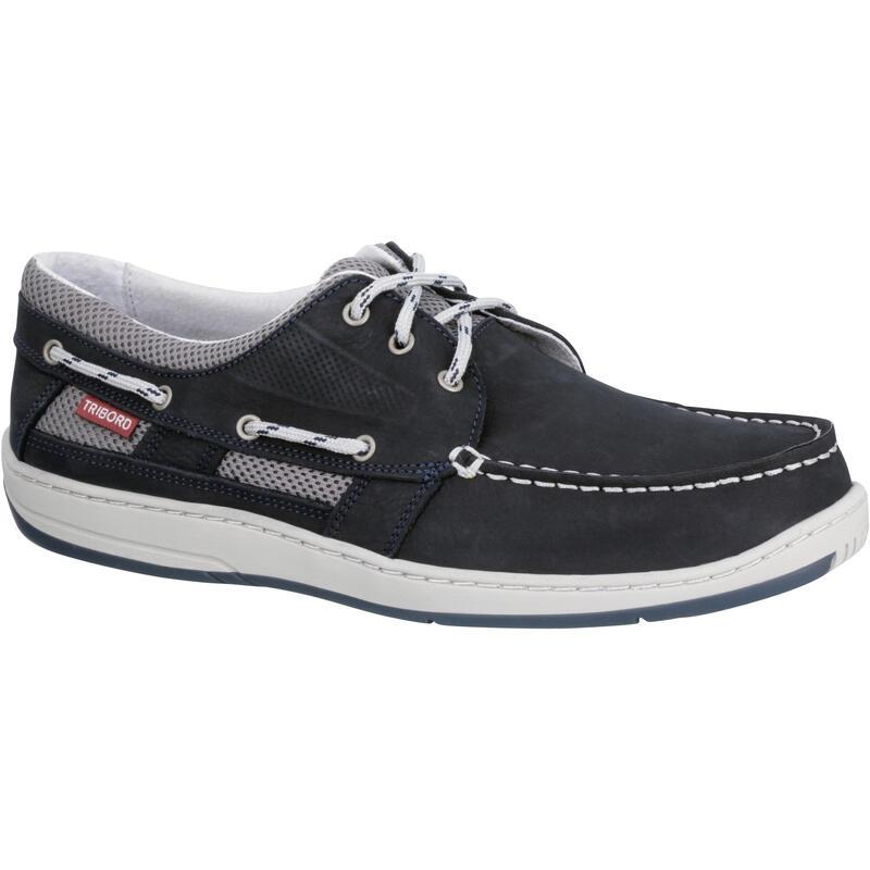 Leren bootschoenen voor heren Clipper blauw