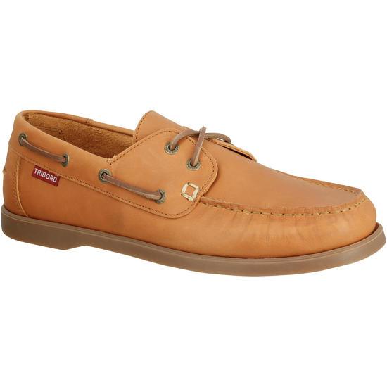 Leren bootschoenen CR500 voor heren donkerbruin - 189019