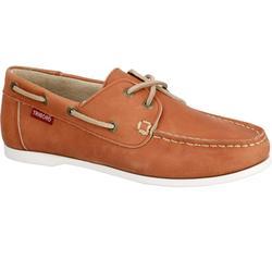 Zapatos náuticos de cuero para mujer CR500 marrón claro