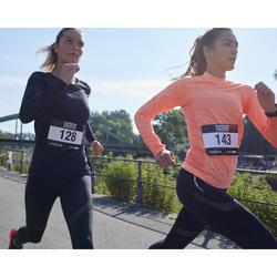 TEE SHIRT MANCHES LONGUES RUNNING FEMME KIPRUN SKINCARE CORAIL