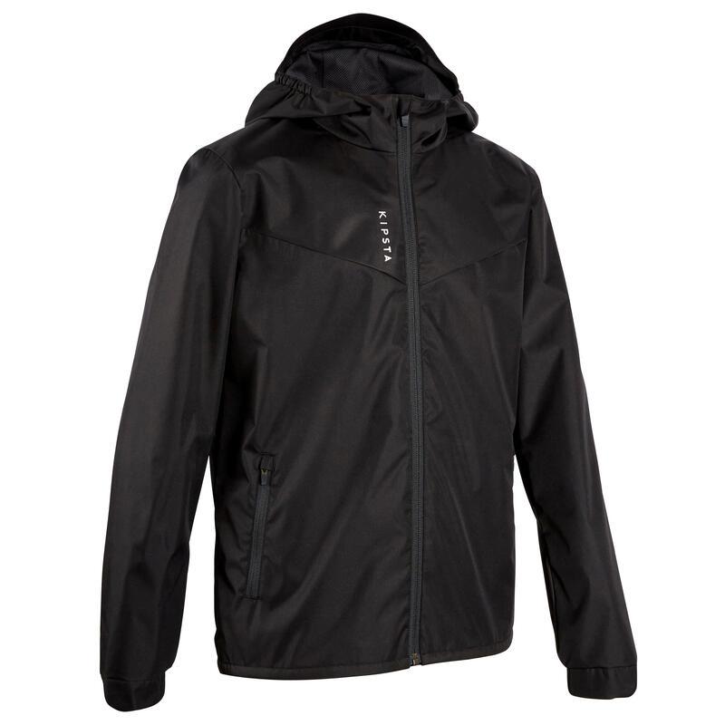 Kids' Waterproof Football Jacket T500 - Black