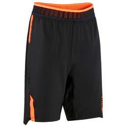 Voetbalshort voor kinderen CLR zwart/oranje