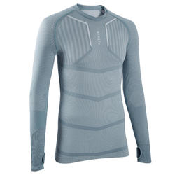 Men's Long-Sleeved Football Base Layer Top Keepdry 500 - Light Grey