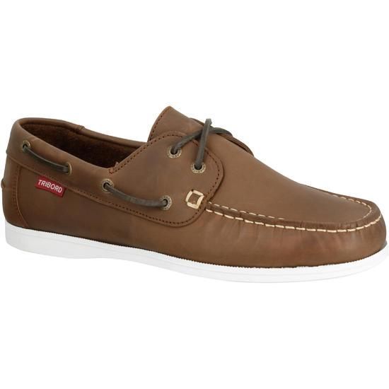 Leren bootschoenen CR500 voor heren donkerbruin - 189131