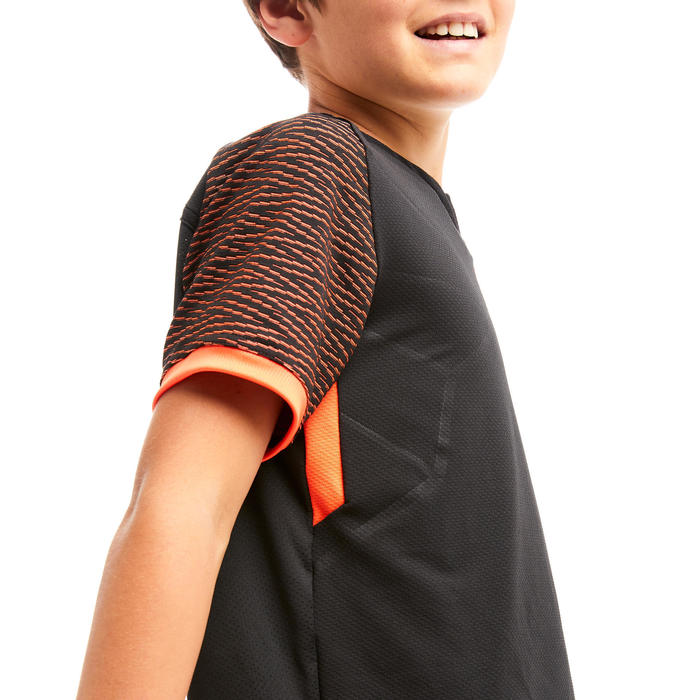 MAILLOT DE FOOTBALL ENFANT CLR NOIR ET ORANGE