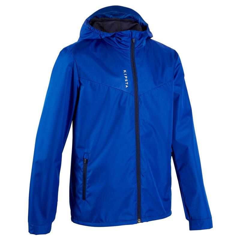 Kids' Waterproof Football Jacket T500 - Blue