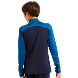 Sweat 1/2 zip d'entraînement de football enfant T500 bleu pétrole et marine