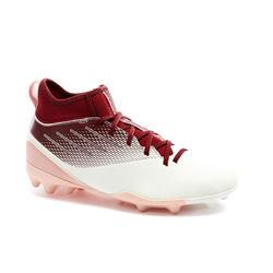 Hoge voetbalschoenen voor meisjes Agility 500 MG-zool wit/ bordeauxrood