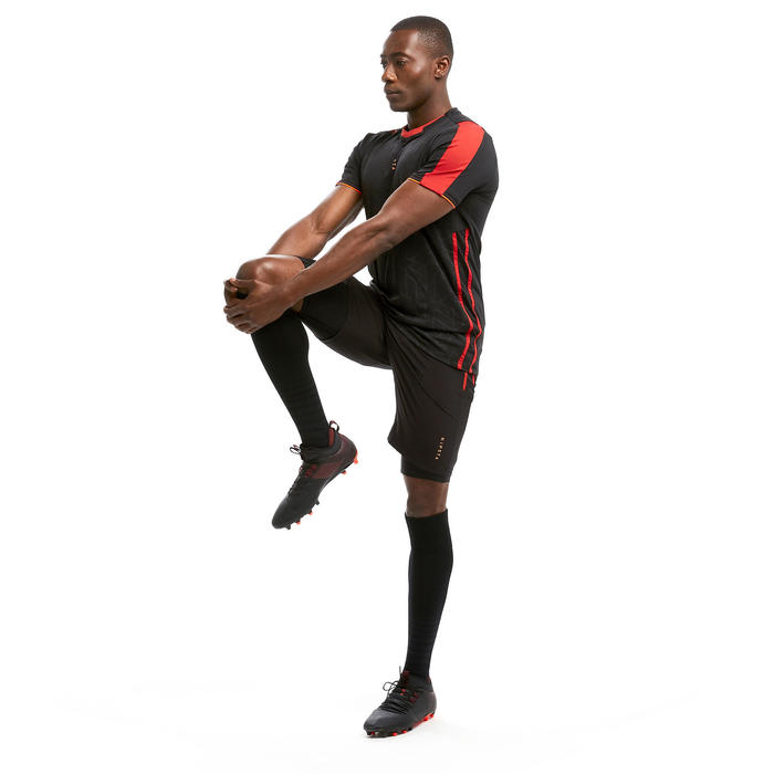 Voetbalshort voor volwassenen 3-in-1 TRAXIUM zwart/rood