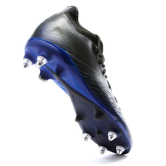Chaussure de football adulte terrains gras CLR SG noir et bleu