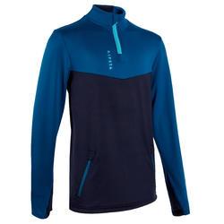 Kids' Football Half-Zip Training Sweatshirt T500 - Petrol Blue/Navy