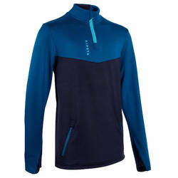 Trainingsweater met 1/2 rits voor voetbal kinderen T500 petroleum/marineblauw