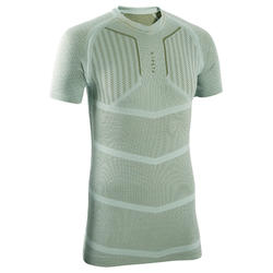 Adult Short-Sleeved Base Layer Keepdry 500 - Grey-Green