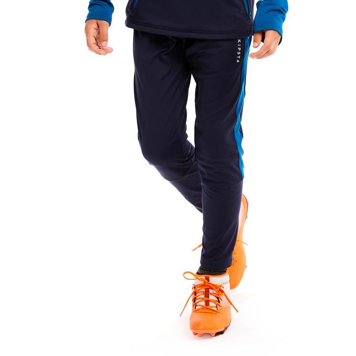 兒童款足球訓練長褲TP 500-深藍綠配軍藍色