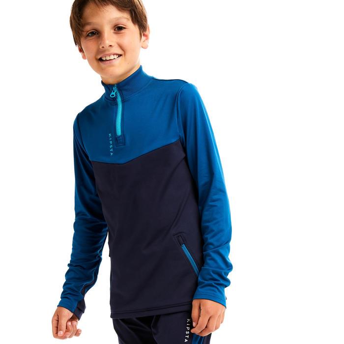 兒童款半開式拉鍊足球訓練運動衫T500-深藍綠色配軍藍色