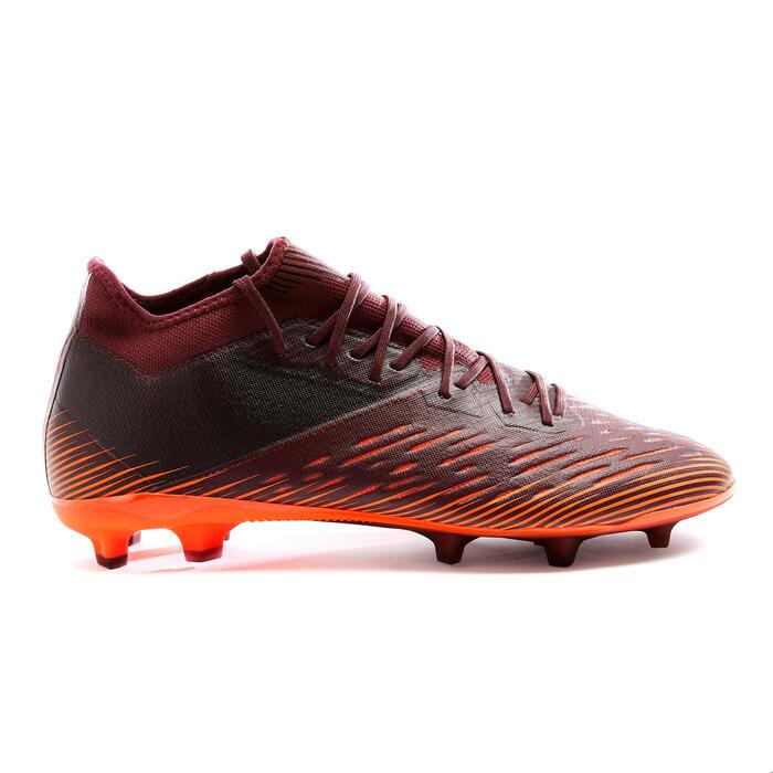 Chaussure de football adulte terrains secs CLR FG bordeaux et orange