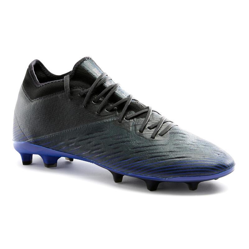 Chaussure de football adulte terrains secs CLR FG noir et bleu