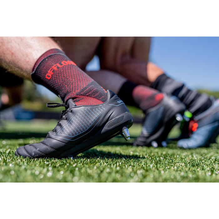 Antislip rugbysokken R500 zwart halfhoog