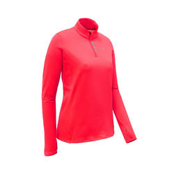 TEE SHIRT MANCHES LONGUES ZIP RUNNING RUN WARM ROSE CORAIL FLUO FEMME