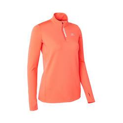 Hardloopshirt met lange mouwen dames Run Warm met rits koraal